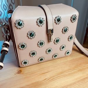 Topshop pink purse with emerald embellishments